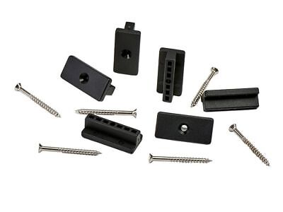 100 Composite Deck Fixings, Plastic T Clips + M4x45 Stainless Steel Wood Screws