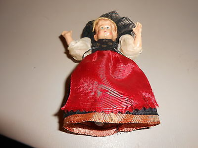 """Vintage Plastic Swiss Female Doll 4 1/4"""" inches-See Photos!"""
