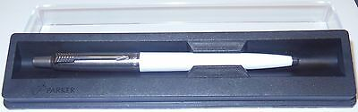 PARKER Jotter Ballpoint Pen 2004/5  - STAINLESS STEEL & WHITE - Made in UK