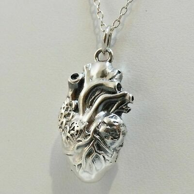 3D Anatomical Heart Charm 14k Gold Plated 925 Sterling Silver Lifelike Pendant