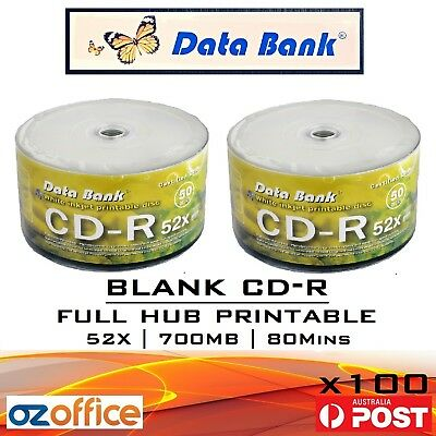 100 x Data Bank CD-R Blank CD Discs 700MB 52X Blank CDs Full Hub White Printable