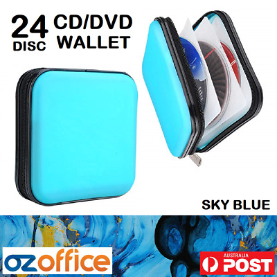 BRAND NEW 96 DVD CD Case DISC Holder BROWN LEATHER Folder Wallet Storage
