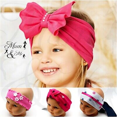 NEW Girls Baby Headband Hair Band Toddler Flower Band Cotton Kids Support Bobble