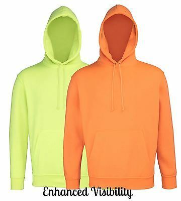 Mens Enhanced Viz Hoodie Hooded Sweatshirt, Hoody Top For Work, Running Cycling