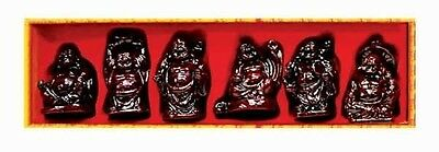 New In Box Red Wood Look Lucky Buddhas Set of 6! Bingo Gift Good Luck Feng Shui