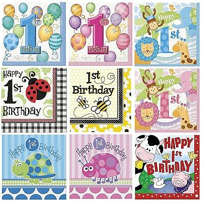 16 FIRST/1st BIRTHDAY Luncheon NAPKINS (Boy/Girl/Baby/Party/Tableware)