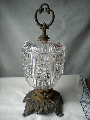 Vintage Italian Cut Crystal Compote Candy Dish with Brass Pedestal