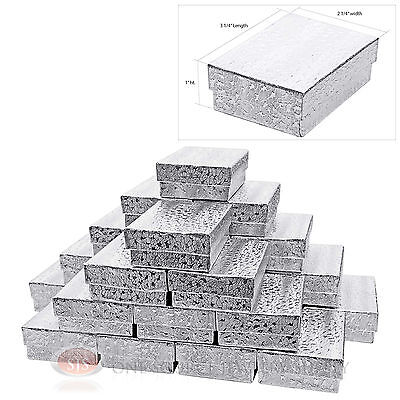 """25 Silver Foil Cotton Filled Jewelry Gift Boxes Charm Ring Box 3 1/4"""" X 2 1/4"""""""