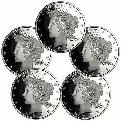 Lot of 5 - Peace Silver Dollar Design 1 Troy Ounce .999 Silver Rounds SKU34189