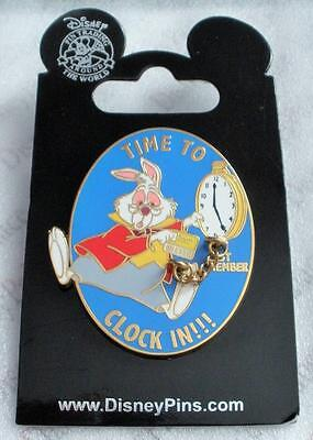 Disney Cast Exclusive Alice in Wonderland White Rabbit Time To Clock In Pin