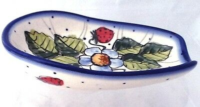 Polish Pottery Spoon Rest Condiment Bowl Signed WR2 Strawberry Fields