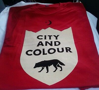 NWT City and Colour Wolf Star & Crescent Adult Rock Band T-shirt - Red LARGE