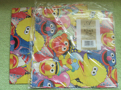 SESAME STREET Gift Wrap VINTAGE Sheets BIG BIRD GROVER Bert Wrapping Paper