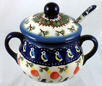 Polish Pottery Lidded Sugar Bowl With Matching Spoon Signature BE Bluebird