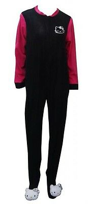 Sanrio 3D HELLO KITTY BLK/PNK 1 Piece Footed Pajamas S M L or XL NWT Pillow-top
