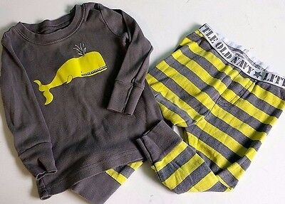 Baby Boy Old Navy 12-18 Months Pajamas Whale Gray Striped Long Sleeve Long Pants