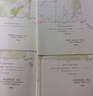 VINTAGE 1956 US DEPT OF INTERIOR GEOLOGICAL SURVEY TOPOGRAPHIC MAPS (4)TEXAS