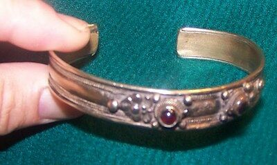 Old Bracelet with several small Purple stones (amethysts?)-Cuff style