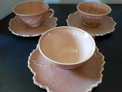 Vintage STEUBENVILLE WOODFIELD Cup & Saucer SALMON PINK / Set of 3