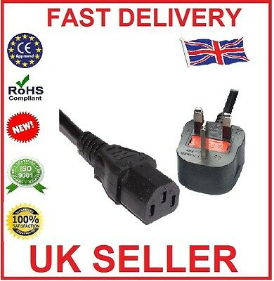 3M 3 Pin UK Mains Power Plug to IEC C13 Kettle Lead Cable Cord for PC Monitor TV