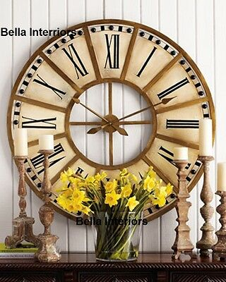 """NEW Horchow Large 31"""" 45"""" French Hand Painted TRAIN STATION GOLD WALL CLOCK"""