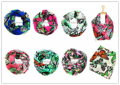 USWholesaler-12PC-AssortedColor-Colorful Butterfly large infinity scarves #6042