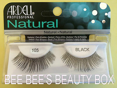 ARDELL NATURAL LASHES  ***105*** BLACK, Genuine, False Strip Eyelashes