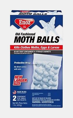 New 16oz ENOZ Old Fashioned MOTH BALLS Indoor/Outdoor Insects Naphthalene E67.10