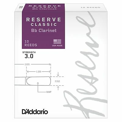 D'Addario Reserve Classic Bb Clarinet Reeds, Strength 3, 10-pack