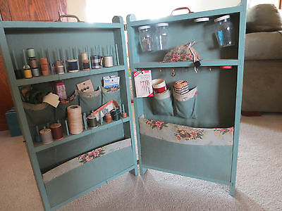 Victorian FOLDING SEWING WOOD SCREEN organizer Cabinet- early 1900s, Original