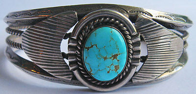 Vintage Navajo Indian Applied Silver Veined Turquoise Cuff Bracelet