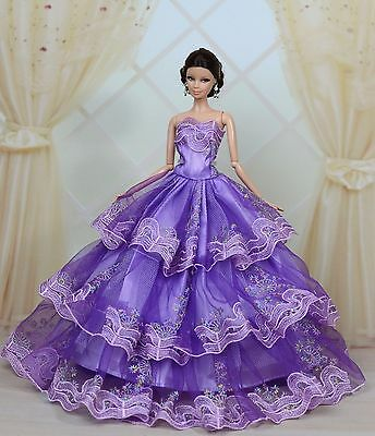 Purple Fashion Royalty Princess Party Dress/Clothes/Gown For Barbie Doll E07
