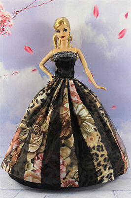 Black Fashion Princess Party Dress Clothes/Gown For Barbie Doll B05