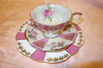 Shelley plate pink panels gold teacup cup and saucer vintage trio roses