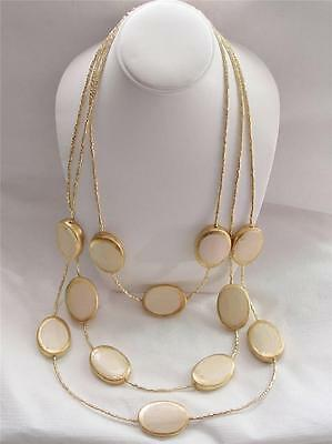 Chico's Long Layered Necklace Tiers of Gold-Tinged Wooden Ovals