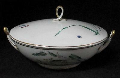H&C Selb Bavaria SOMMER Serving Bowl W/Lid Wild Grass BUTTERFLY 22k Gold Trim