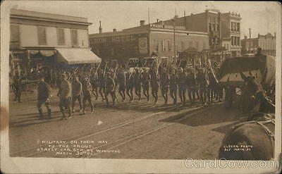 Canada RPPC Winnipeg MB Military on Way to Front Streetcar Strike 1906 March 30