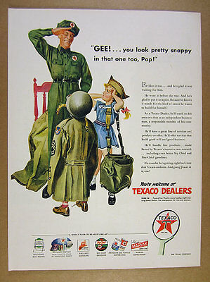 1945 Texaco Dealers Station Attendant in Uniform Saluting Son vintage print Ad