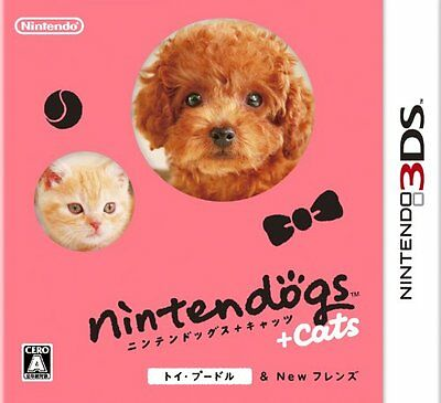 USED Nintendo 3DS Nintendogs + Cats Toy Poodle & New Friends JAPAN