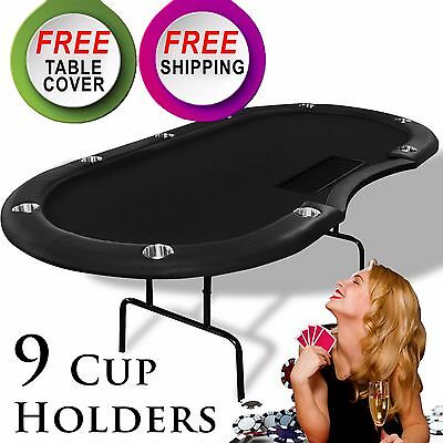 9 Player Folding Casino Texas Holdem Poker Game Table Black Blue W/ Cup Holders