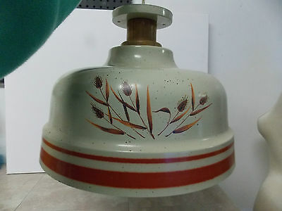 Vintage Kitchen  Dining Metal Ceiling Light Fixture Almond Speckled Wheat Design