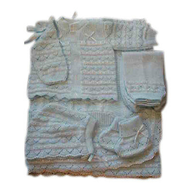 Knit  Baby Set Shiny Thread design Blanket Pants Sweater Hat Booties - Aqua
