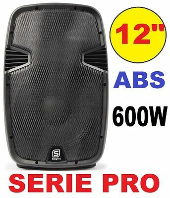"CASSA ATTIVA AMPLIFICATA 600W 12"" FULL-RANGE IN ABS 2 VIE diffusore monitor NEW"