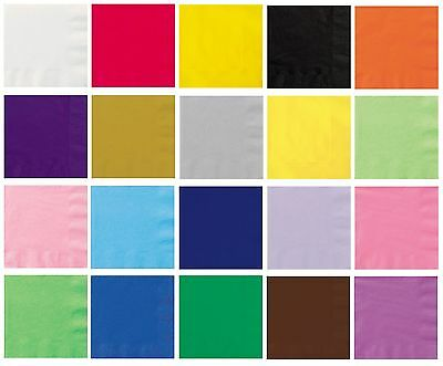 50 LUNCHEON NAPKINS - Plain Solid Colours Birthday Party Tableware Catering