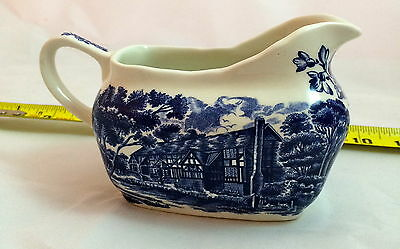 Gravy Boat in English Country Inn-Blue by W.H. Grindley STAFFORDSHIRE ENGLAND