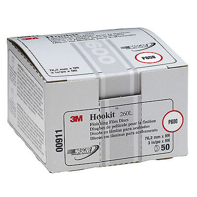 "3M 0911 911 Hookit 3"" P600 Grade Finishing Film Disc 50 Discs Per Box 00911"