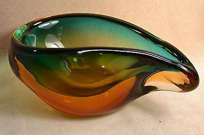VINTAGE SEGUSO MURANO ART GLASS TEARDROP SOMMERSO BOWL - BLOWN AMBER TO BLUE