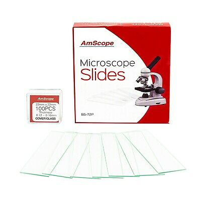 AmScope 72 Pre-Cleaned Blank Microscope Slides and 100 22x22mm Square Cover Glas