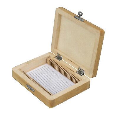 AmScope PS25-WB Microscope Slide Wooden Box Holding 25 Piece Slides