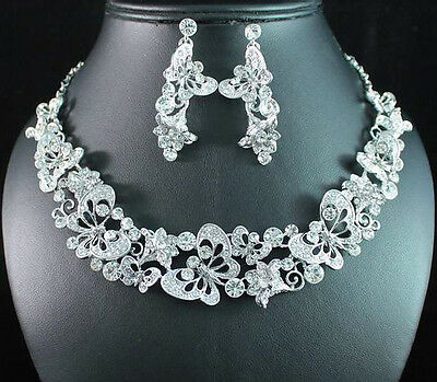 BUTTERFLY CLEAR AUSTRIAN RHINESTONE CRYSTAL NECKLACE EARRINGS SET BRIDAL N1689C